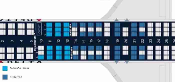 The dark blue seats are