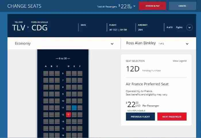 Air France Preferred Seat through Delta