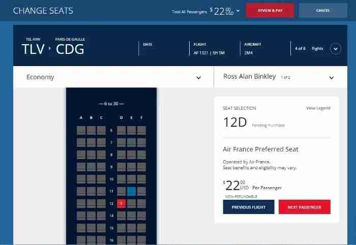 Air France Preferred Seat through Delta