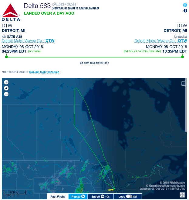 DL583 from Detroit to Shanghai returns to DTW after a medical emergency is declared on Oct. 8, 2018