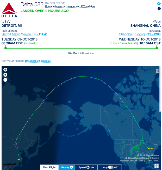 Delta A350 flies to Shanghai after being scheduled out of Detroit on Oct. 9, 2018