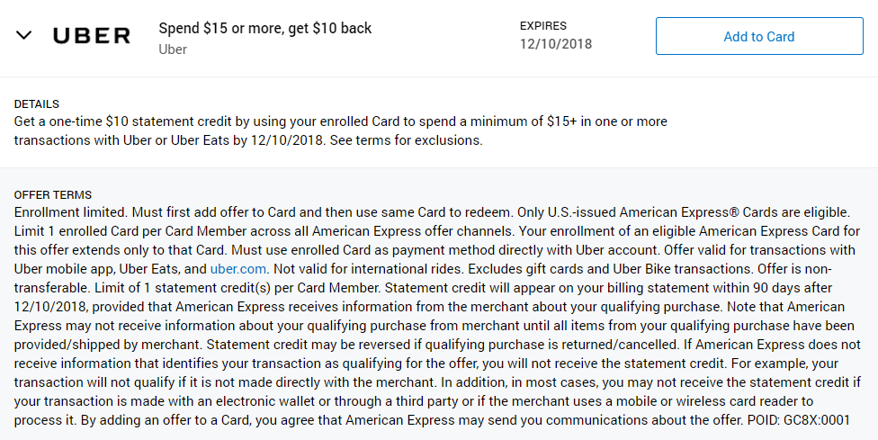 Spend 15 With Uber Get A 10 Statement Credit Targeted