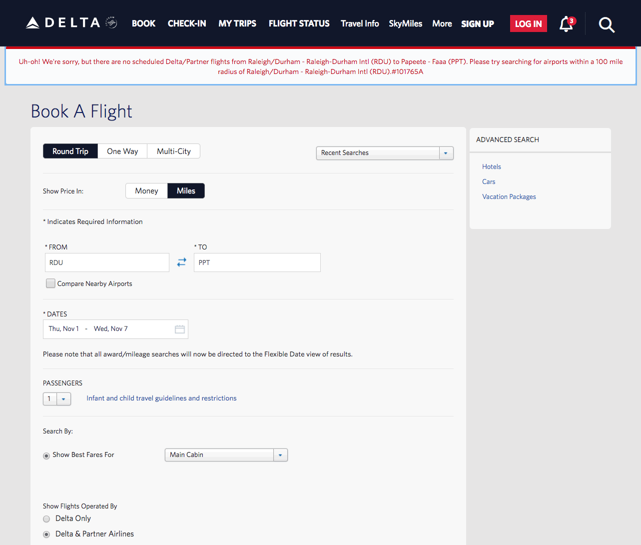 "The dreaded ""Uh-oh!"" error page when trying to purchase my airfare on Delta.com"