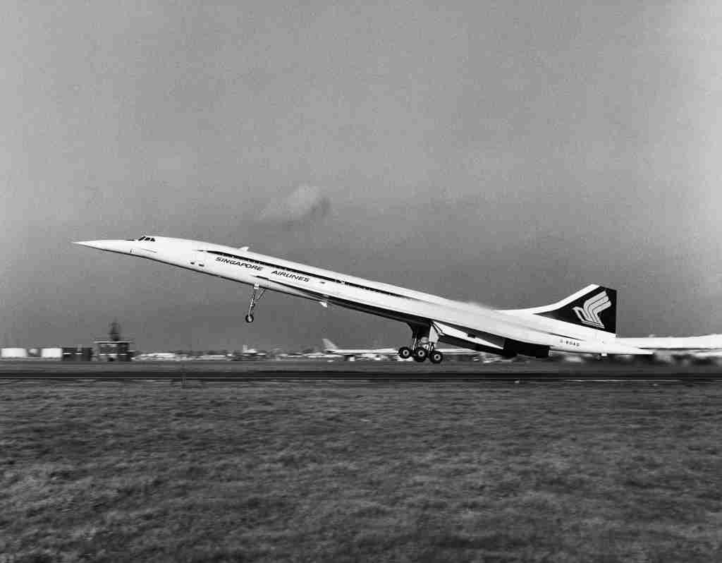 A Concorde 210 aircraft takes off from London