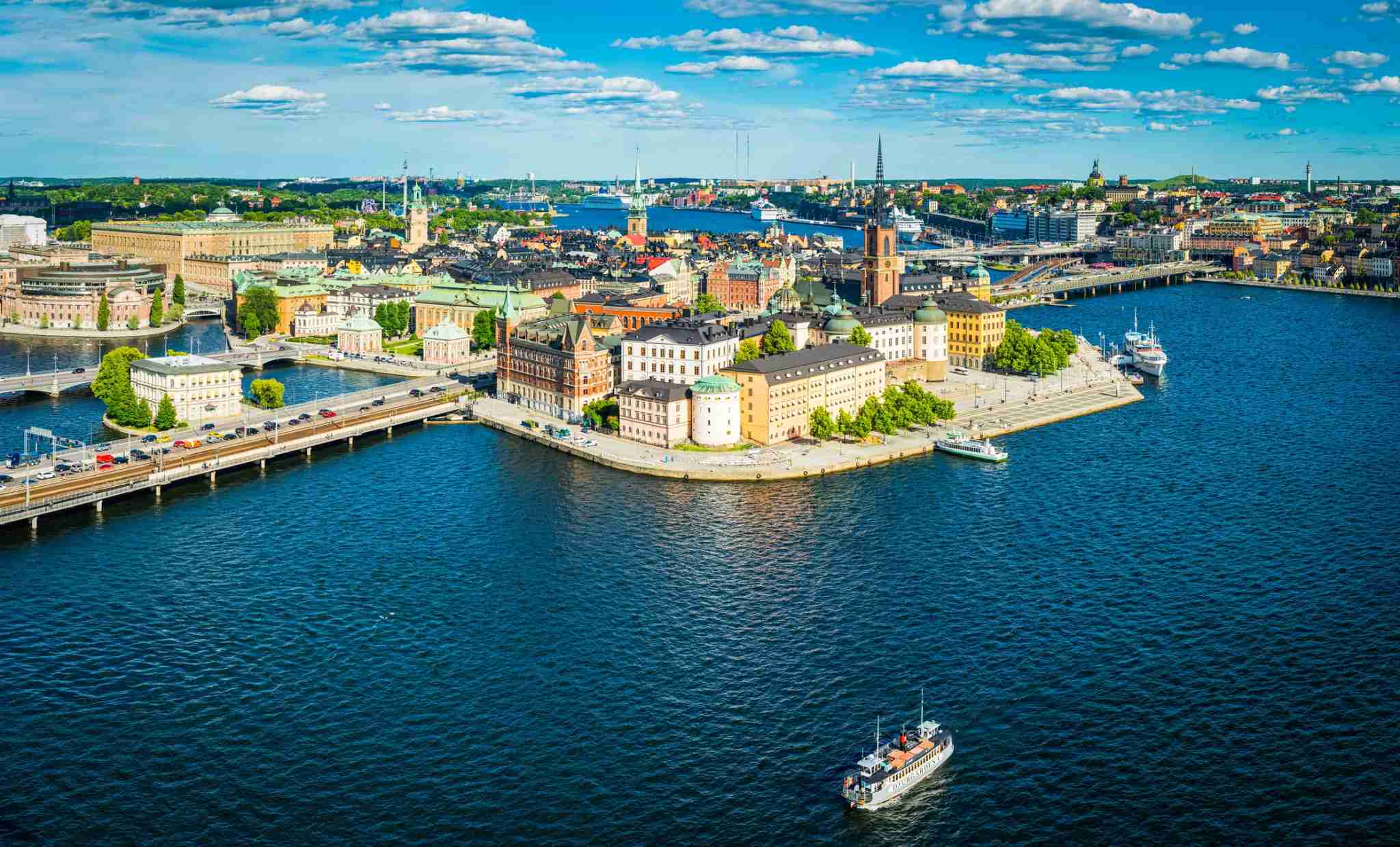 Panoramic aerial view over the blue summer skies above the iconic waterfront of Gamla Stan and Sodermalm in the heart of Stockholm, Sweden