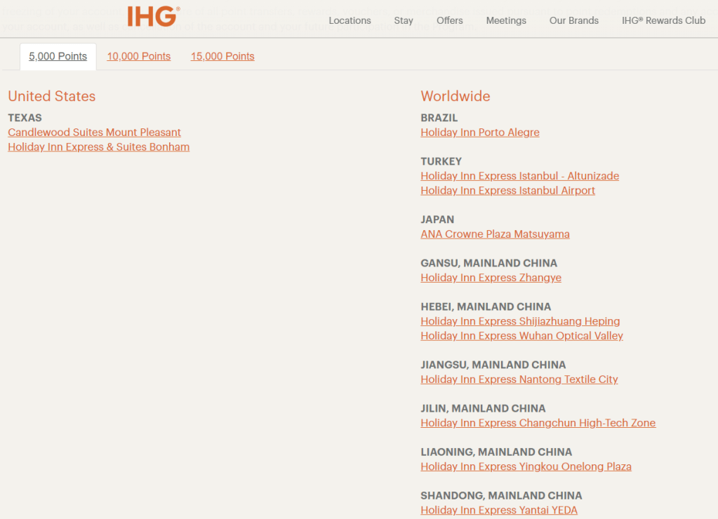 ihg pointbreaks list is live book hotels from 5 000 points