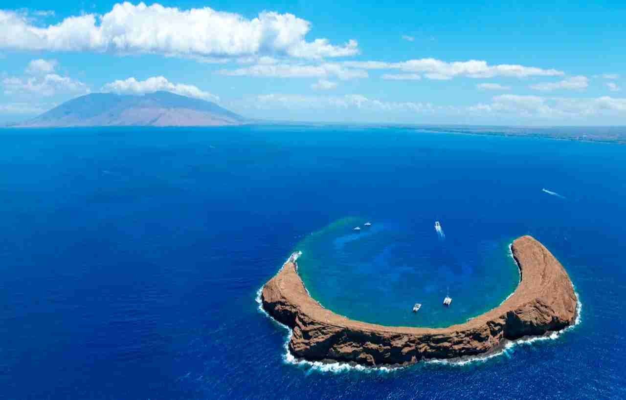 Molokini Crater with West Maui in background. (Photo by M Swiet Productions/Gerry Images)