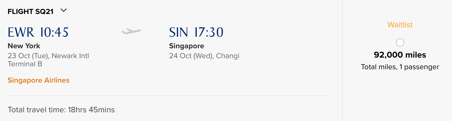 Using Singapore KrisFlyer miles to fly non-stop Newark to Singapore in business class.