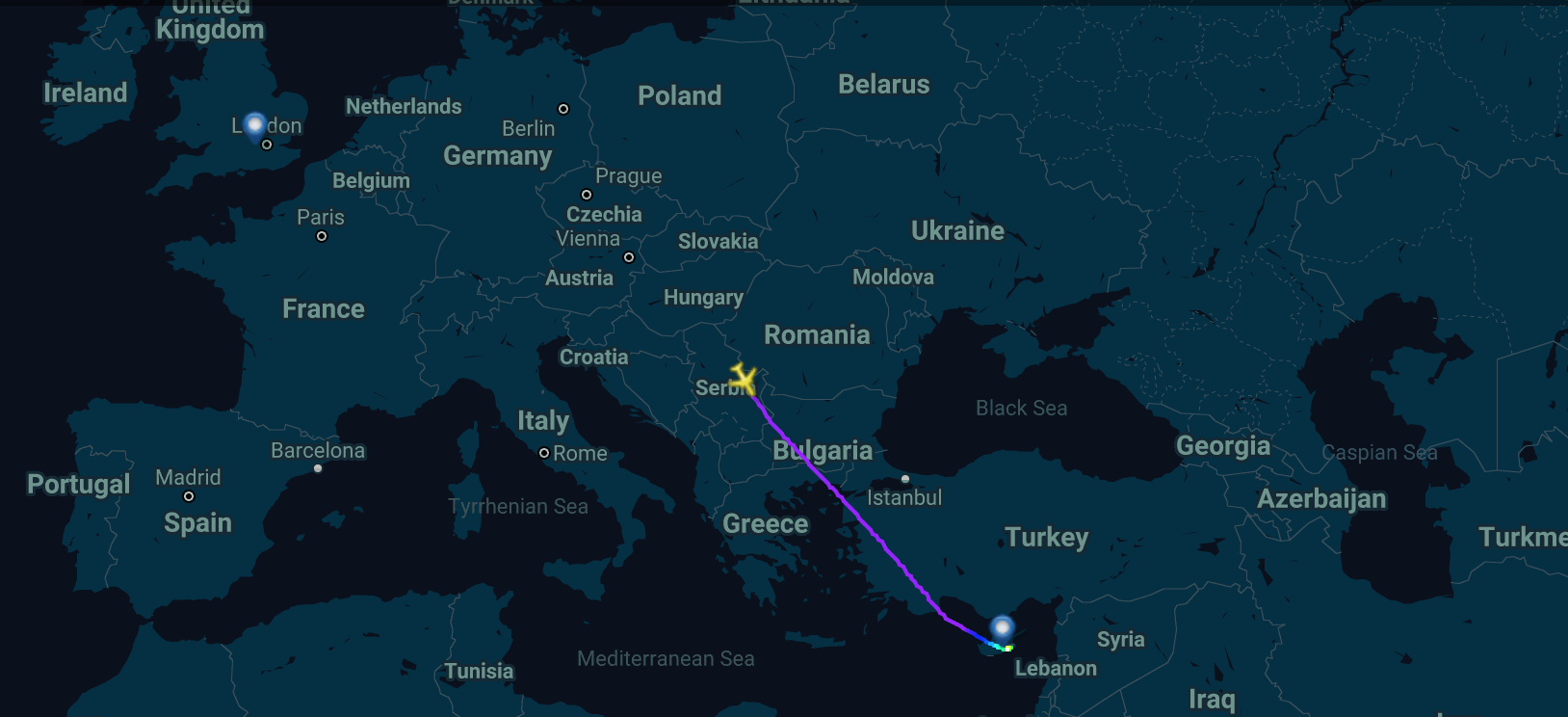 British Airways flight BA662 (Image via Flightradar24)