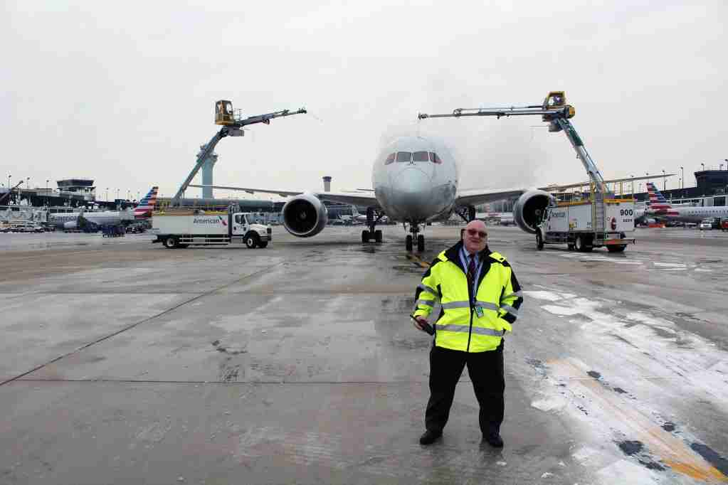 Gene Herrick, 30+ years with American Airlines, and head of deicing operations at ORD. (Image by author).
