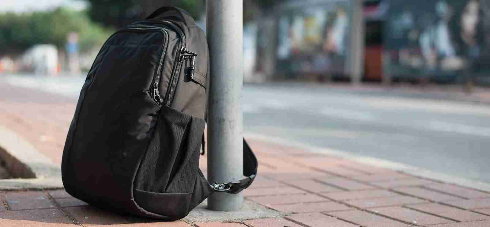 There are plenty of products out there to keep your items from getting stolen, like the PacSafe bag above, which have straps and locking cables to secure your bag to any anchor. (Image via PacSafe.com)