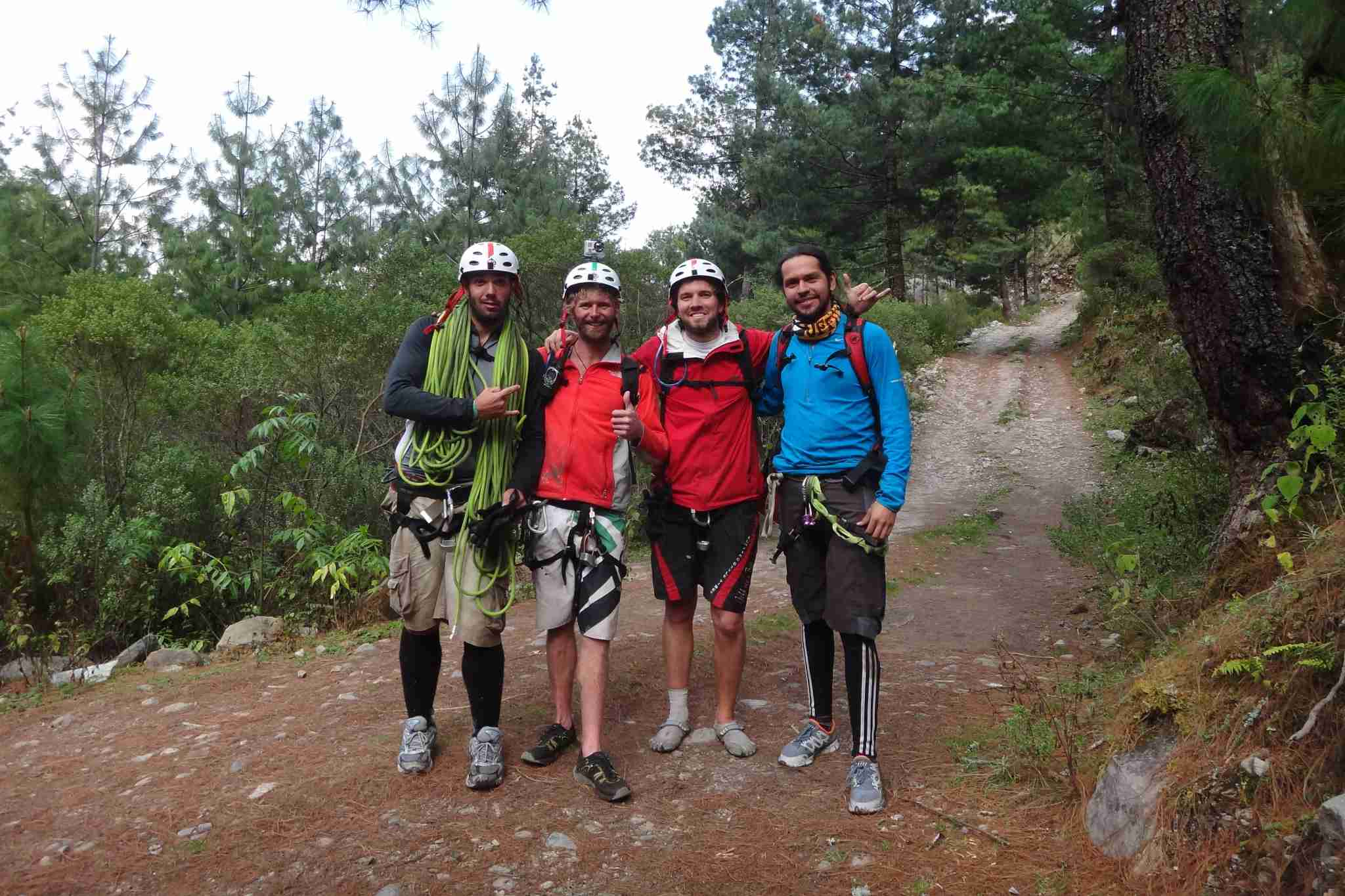 My crew just after five hours of canyoning a rarely explored canyon. Image courtesy of Brian Biros.