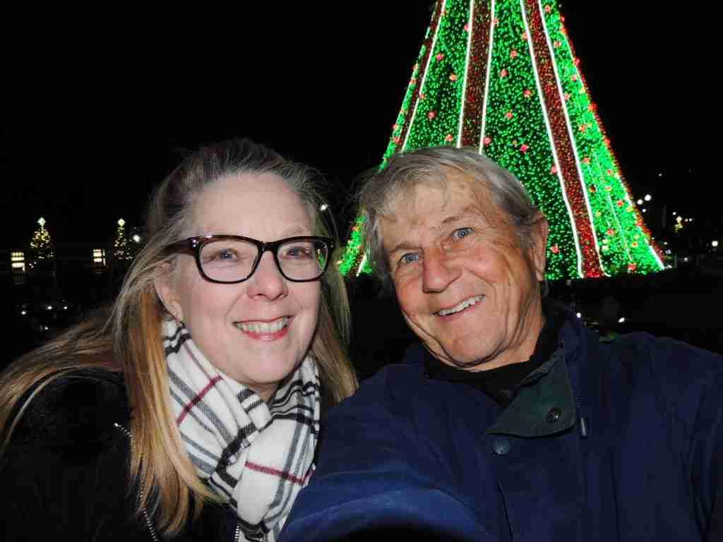 Grandpa Points at the National Christmas tree Washington, DC
