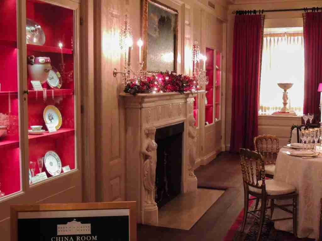The White House China Room at Christmas