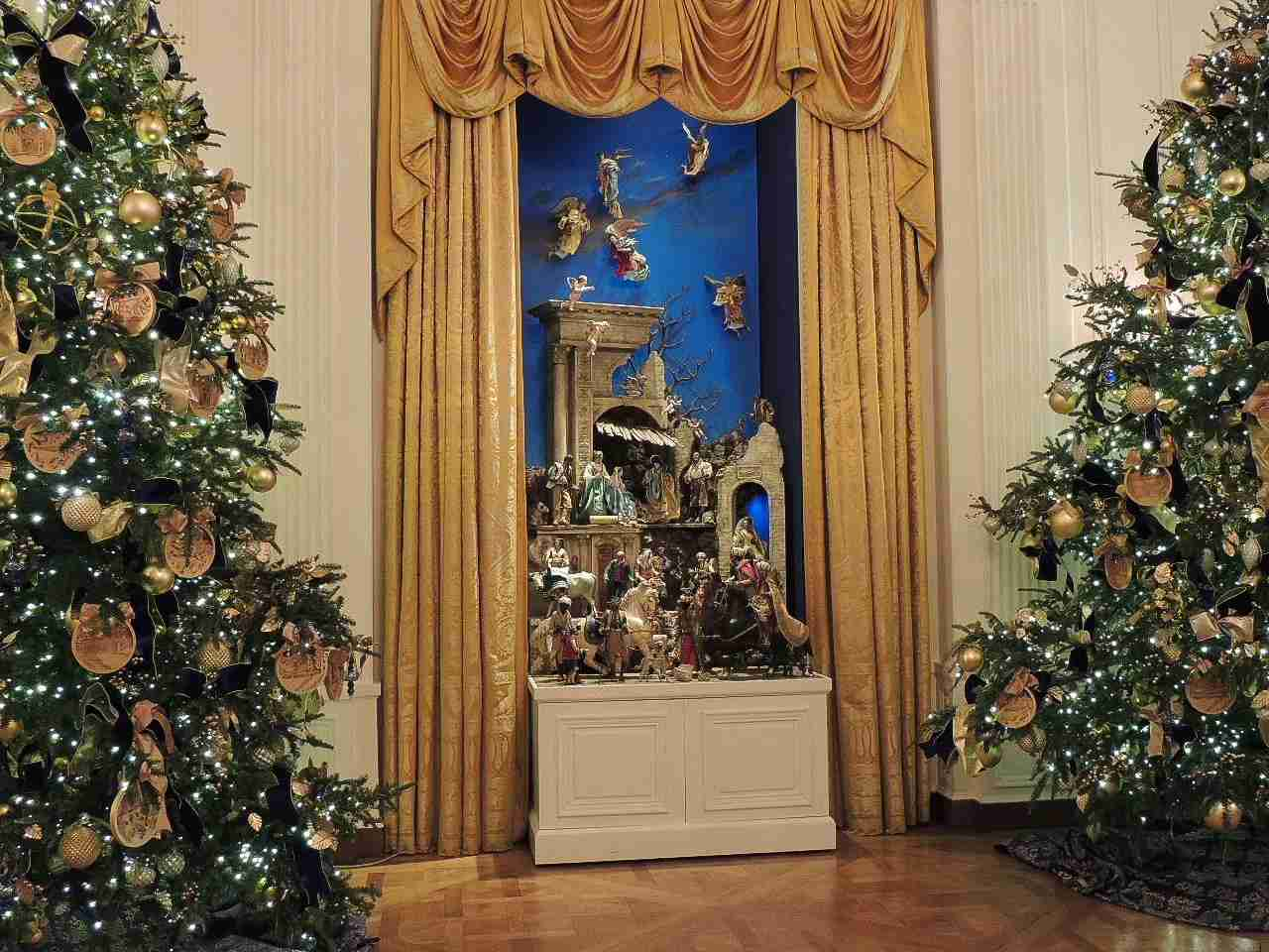 White House East Room at Christmas