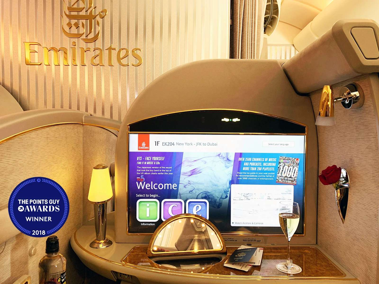 Review: Emirates First on the A380 From New York to Dubai