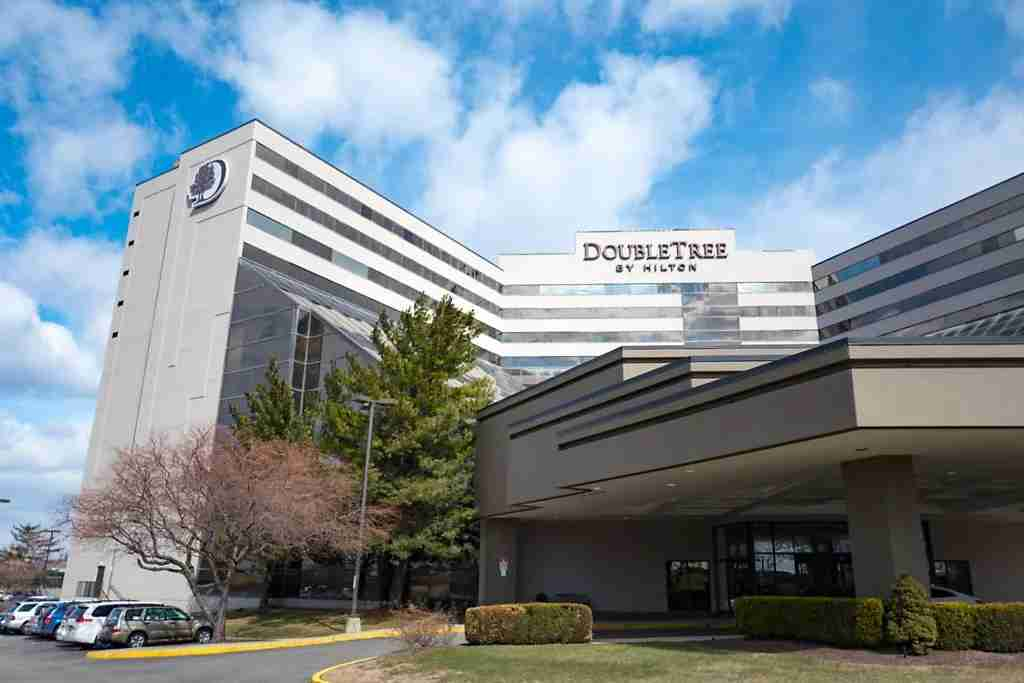 Exterior view of facade of the Doubletree Newark Airport hotel by Hilton Hotels in Newark, New Jersey on a sunny day, March 16, 2018. (Photo by Smith Collection/Gado/Getty Images)