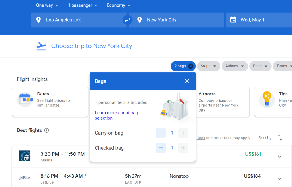 New Google Flights Option Adds Checked Bag Fee To Total Price