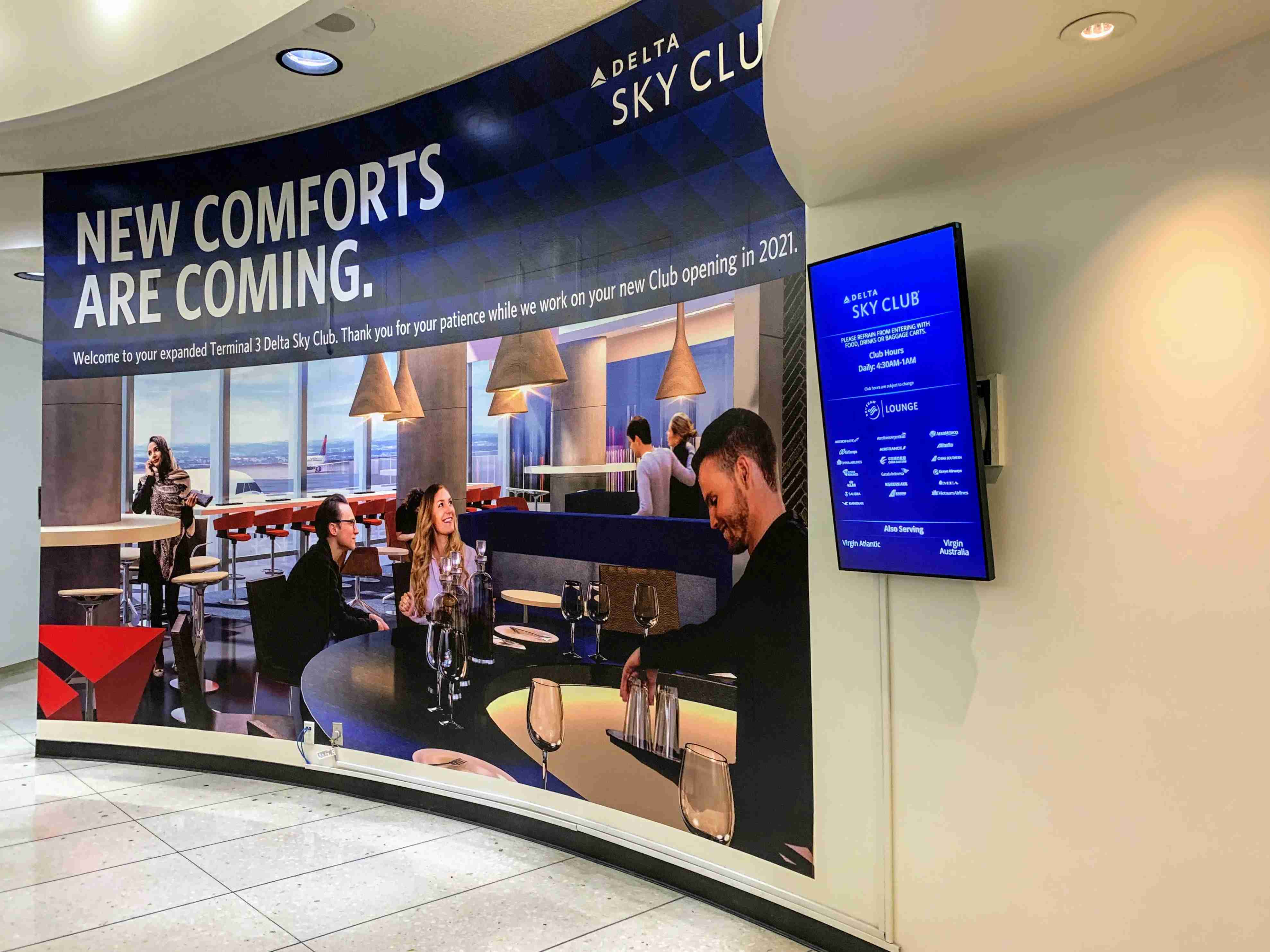 delta sky club new comforts coming to lax 2018
