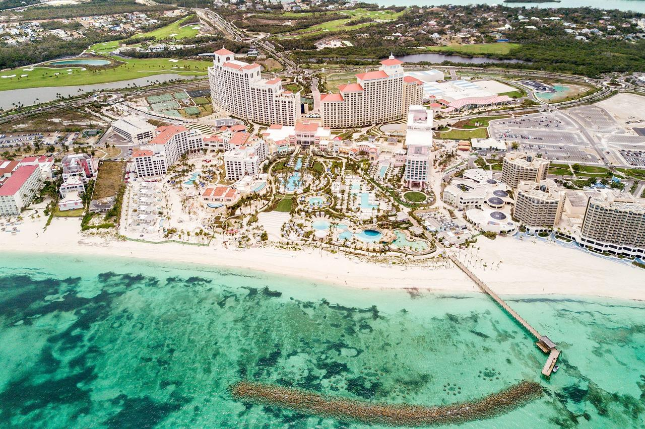 An aerial view of the Grand Hyatt Baha Mar, where there is a flamingo habitat on-site. (Photo courtesy of Grand Hyatt Baha Mar)