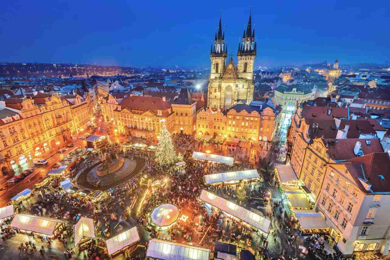 The Christmas market at Old Town Square, Prague. (Photo via Shutterstock)