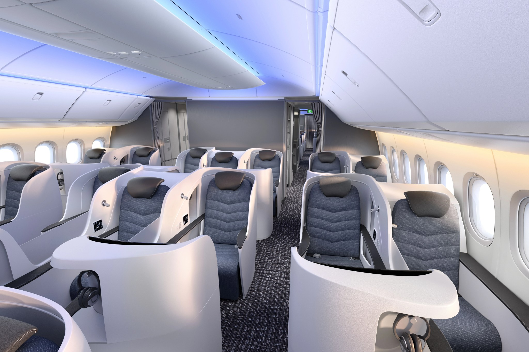 Boeing 777X business class cabin. Image: Boeing