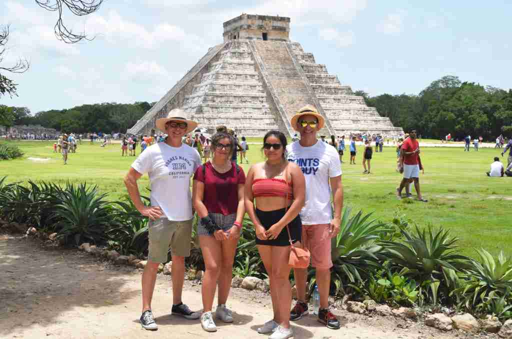 family at Chichen Itza Temple Mexico