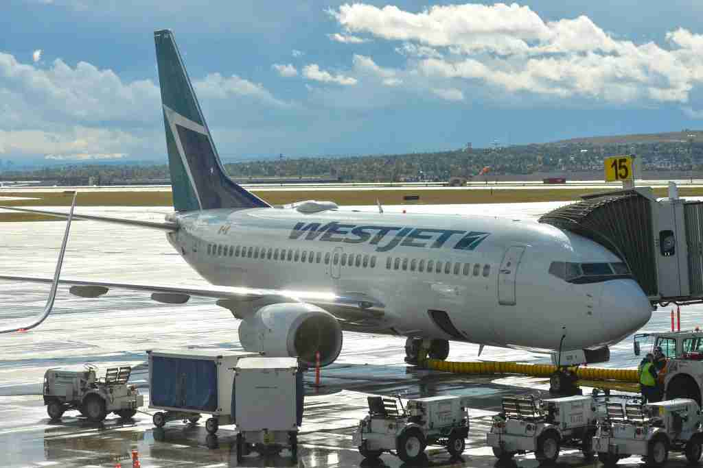 A view of a WestJet Boeing 737 at Calgary International Airport on Sept. 10, 2018. (Photo: Artur Widak/NurPhoto via Getty Images)
