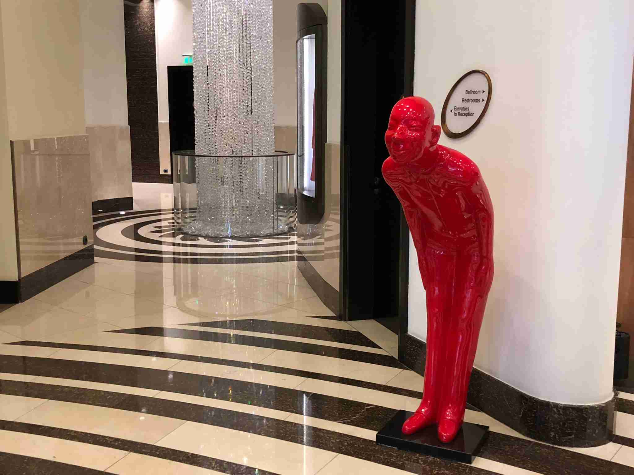 The statue greeting guests in the lower lobby of the Ritz Carlton Almaty.