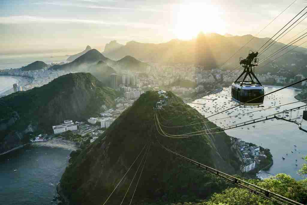 The view from a cable car on Sugarloaf Mountain in Brazil. (Photo via Shutterstock)