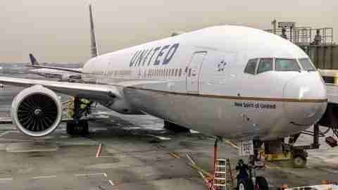 United Boeing 777 aircraft at Newark EWR