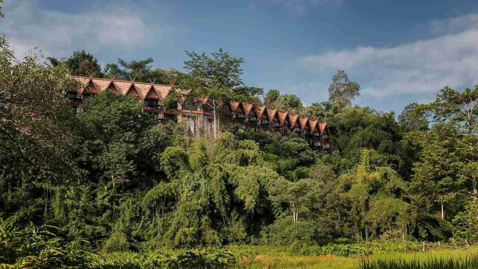 An exterior view of the Anantara Golden Triangle Elephant Camp & Resort in Thailand. (Photo courtesy of Anantara)