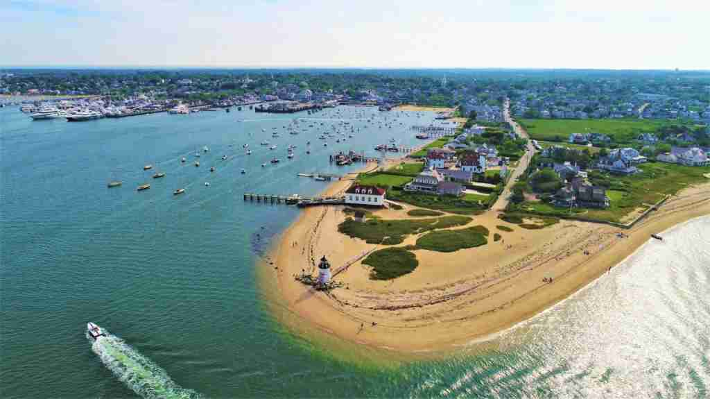 An aerial shot of Nantucket, Massachusetts. (Photo via Shutterstock)