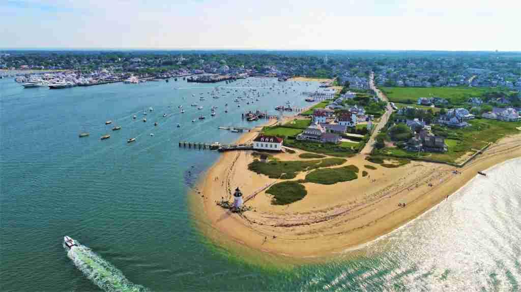 An aerial shot of Nantucket, Massachusetts. (Photo via Shutterstock)