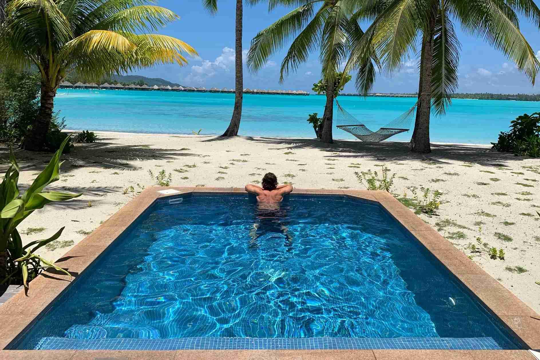 My Marriott Platinum status got me an upgrade to a lagoon front beach villa.