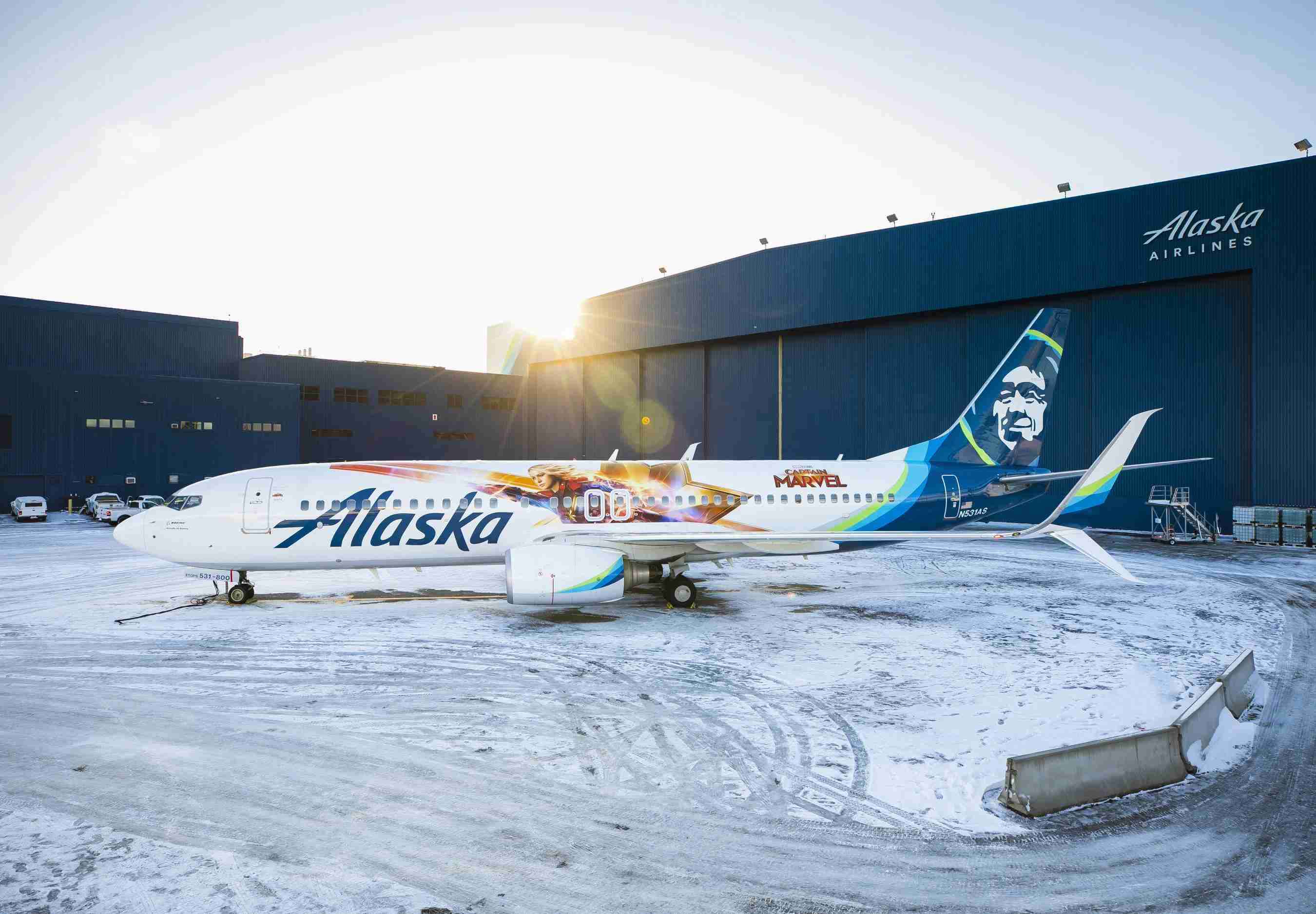 Alaska Airlines unveils special-edition Captain Marvel plane