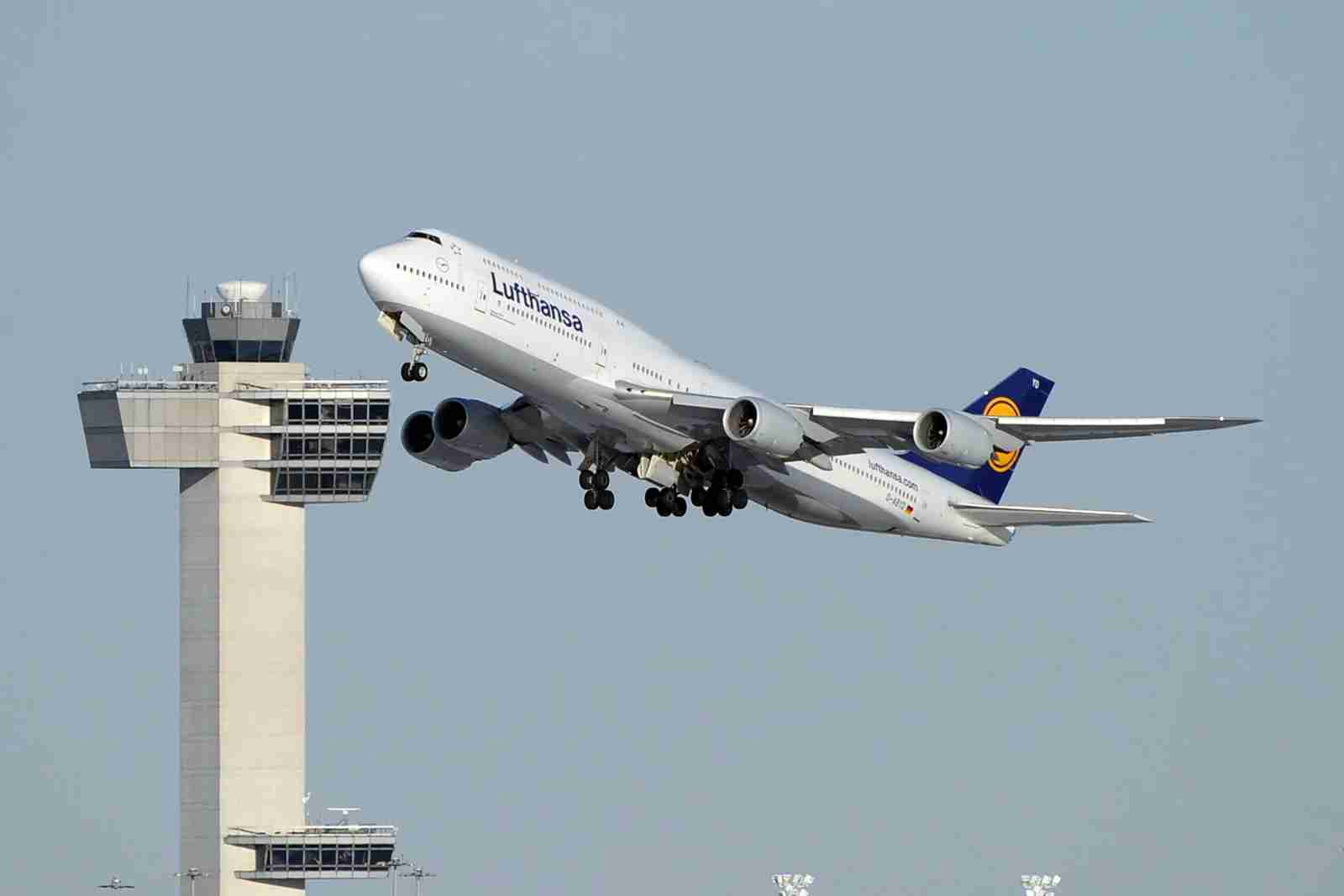 A Lufthansa Boeing 747-8 takes off from JFK