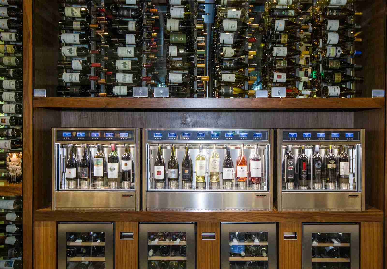 Wine available for tasting at the American Express Centurion Lounge at SFO. (Photo by Kimberly White/Getty Images for American Express)