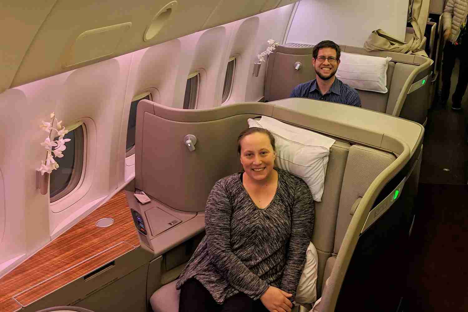 JT and I flying in Cathay Pacific First Class seats 1K and 2K. (Photo by a Cathay Pacific first class flight attendant)
