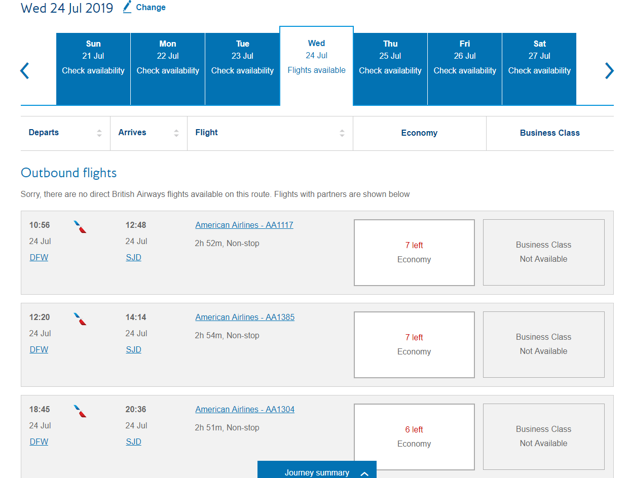 7,500 Avios or you can pay twice the amount of AA miles for the same flight.
