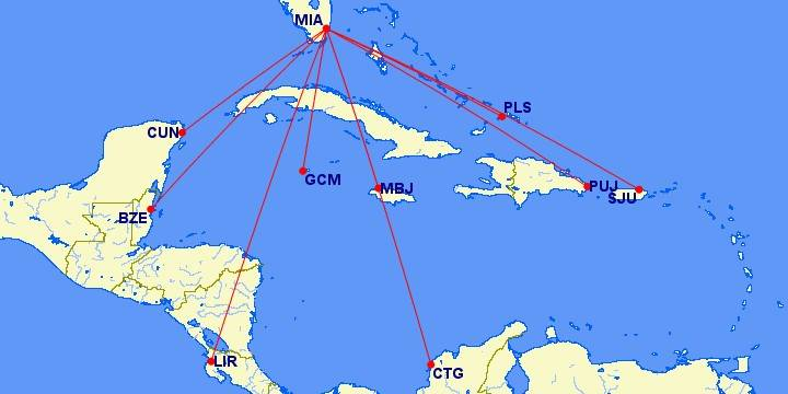 Lots of beach destinations to explore for only 7,500 Avios from Miami!