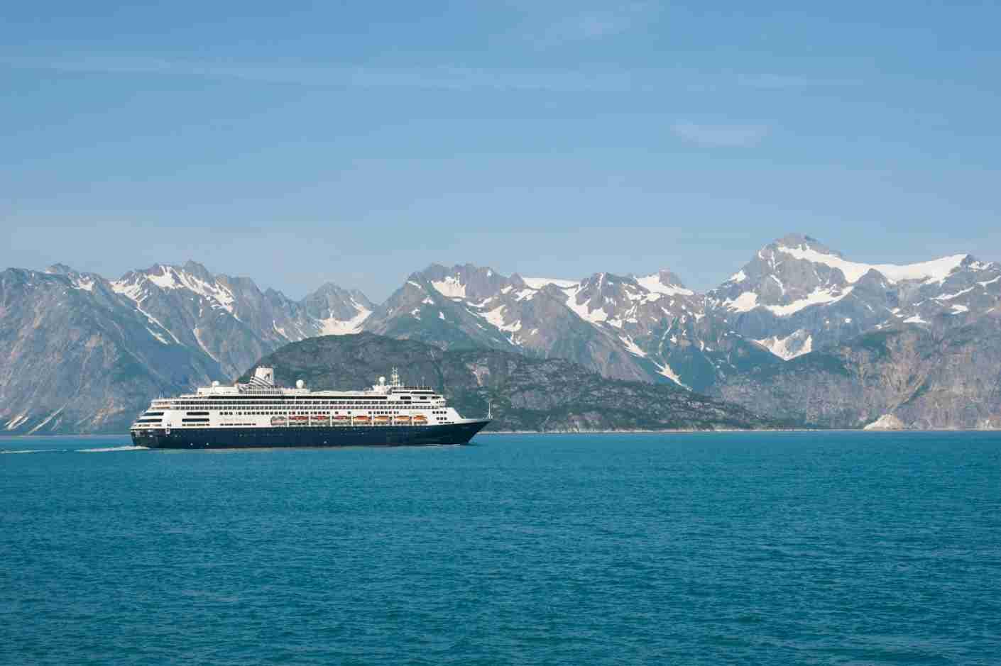 Holland America cruise ship Ms Zaandam in Glacier Bay National Park, Alaska. (Photo by Wolfgang Kaehler/LightRocket via Getty Images)
