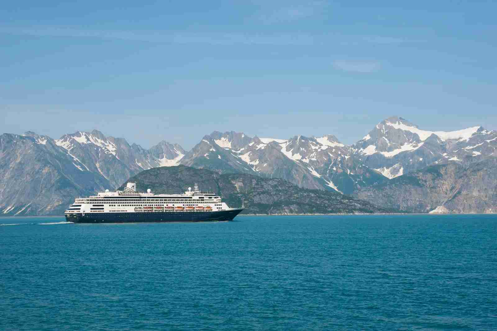 Holland America cruise ship Ms Zaandam in Glacier Bay National Park, Alaska. (Photo by Wolfgang Kaehler/LightRocket via Getty Images)