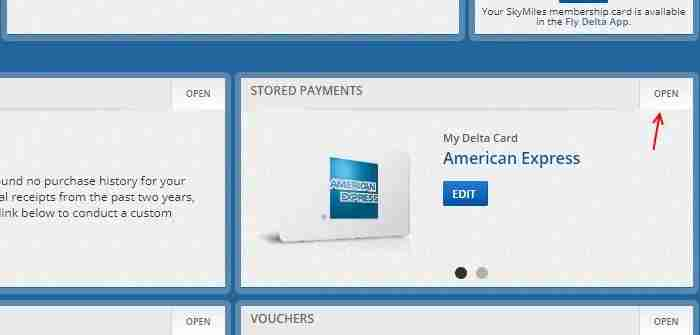 The Stored Payments page can be accessed from the My Wallet page.