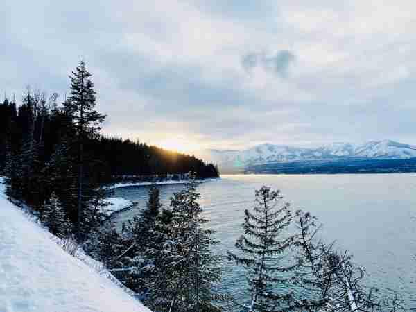 sunset montana sky glacier national park winter snow