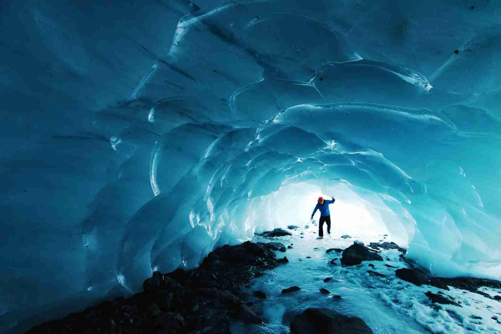 An ice cave in Chugach National Forest, Seward, Alaska. (Photo by Paxson Woelber/Unsplash)