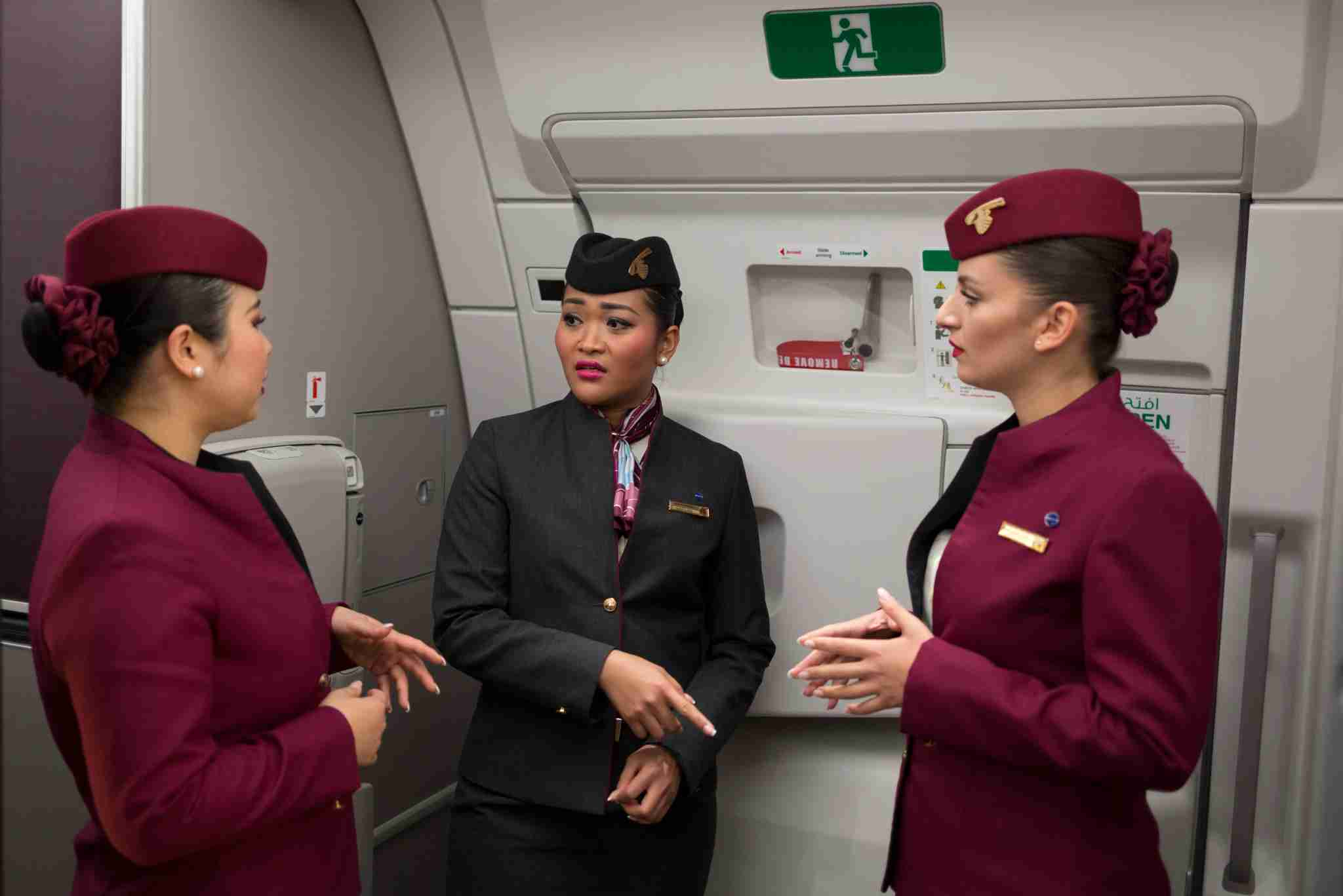 Qatar Airways crew aboard an Airbus A350 (Photo by Richard Baker/In Pictures/via Getty Images)