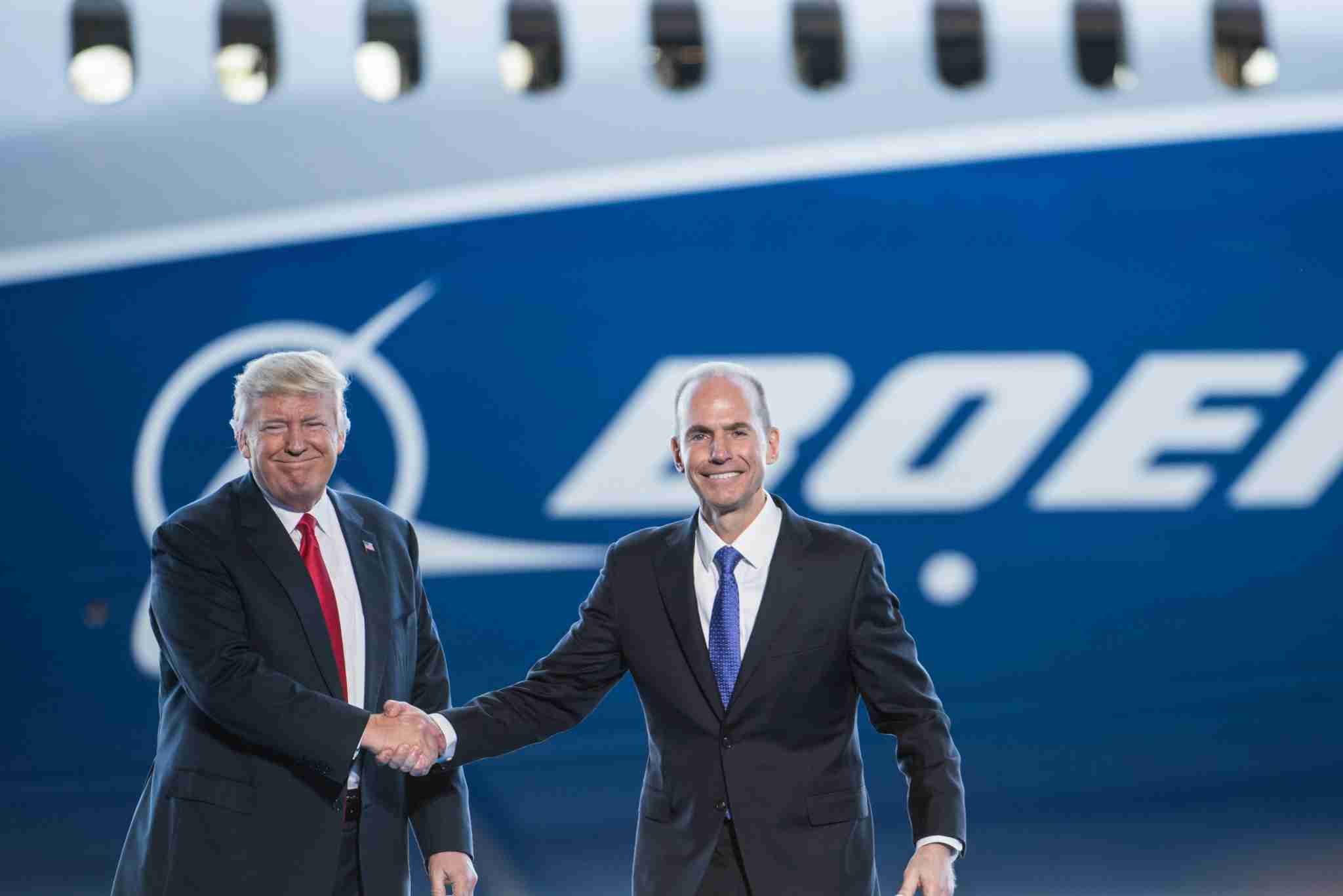 NORTH CHARLESTON, SC - FEBRUARY 17: U.S. President Donald Trump, left, is introduced by Boeing