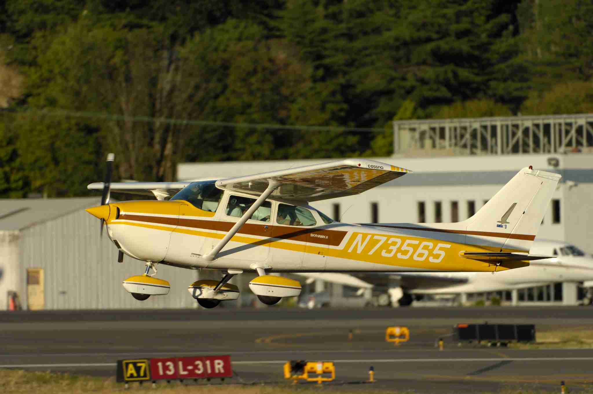 A Cessna 172M Skyhawk, an airplane commonly used at US flying schools, taking off. (Photo by: aviation-images.com/UIG via Getty Images)