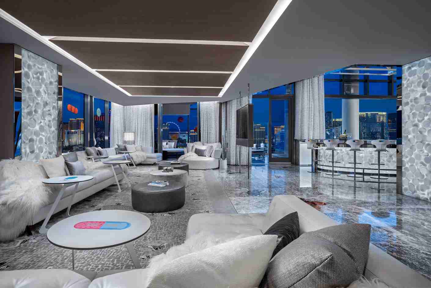 The living room in the Empathy Suite. Photo courtesy of the Palms Casino Resort.